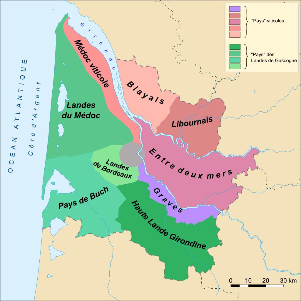 Carte vignoble bordelais