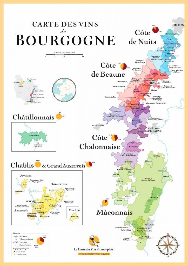 Carte vignoble Bourgogne